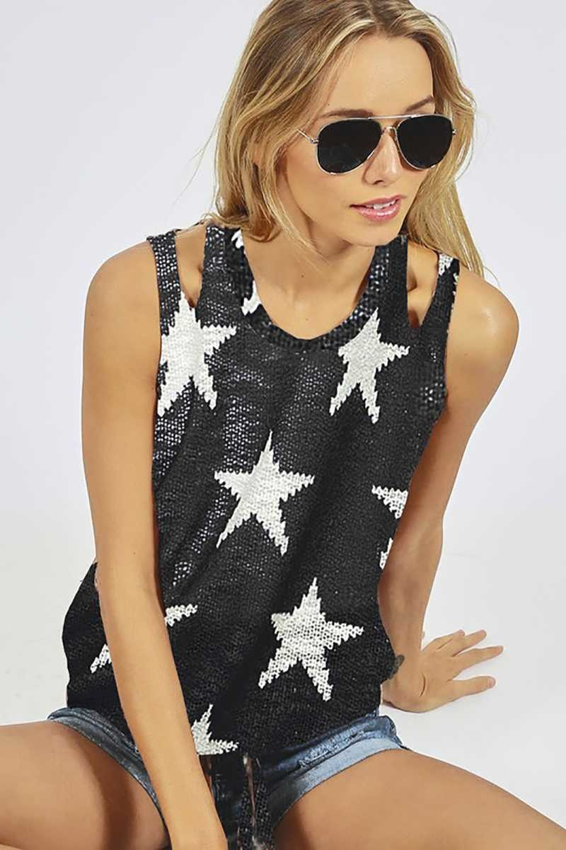 STAR PRINT SHOULDER CUTOUTS KNIT TOP WITH FRONT-TIE