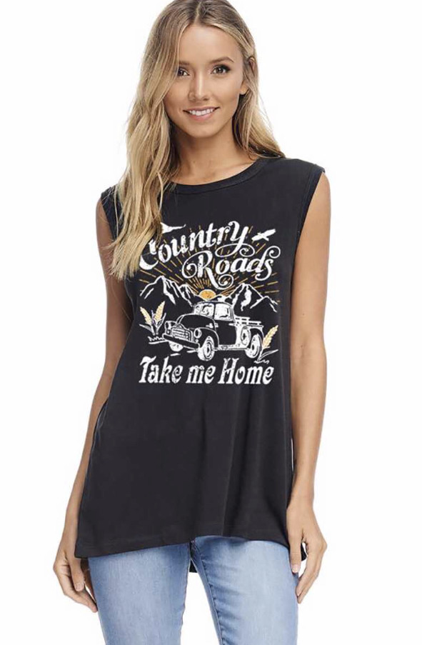 COUNTRY ROADS TAKE ME HOME SLEEVELESS GRAPHIC TOP (ONE SIZE)