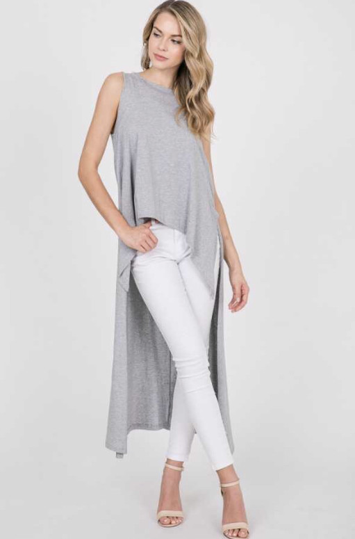 ZARA SOLID KNIT SLEEVELESS HI AND LOW SIDE SLIT TOP