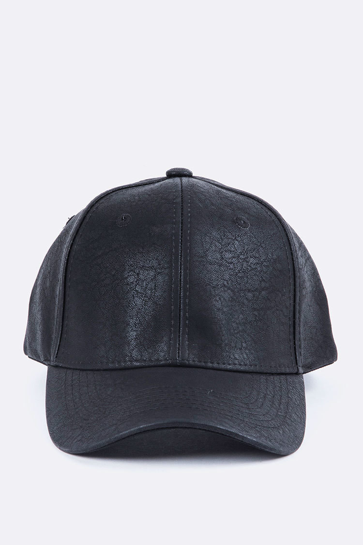 DISTRESS FAUX LEATHER CAP (ONE SIZE)
