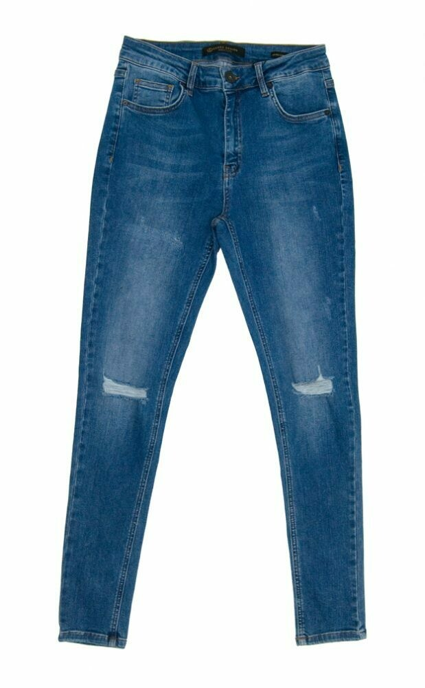 ESTERA -HIGH RISE- MID BLUE RIPPED