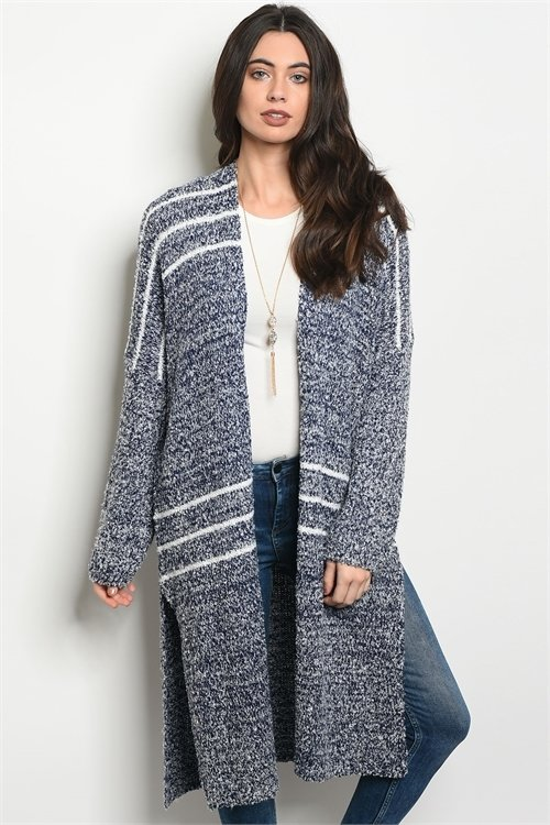 LONG VEST  NAVY STRIPE ( ONE SIZE)