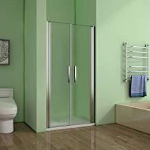 Porta doccia Wood 2 ante battente cm 90 estensibilita' 84-89 h 195 cristallo trasparente 6mm profilo cromo