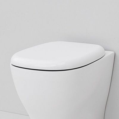 Sedile WC Compatibile ARTCERAM TEN Termoindurente Copriwater Plastica Adattabile Bianco Cerniere Cromate Soft Close - Chiusura Rallentata