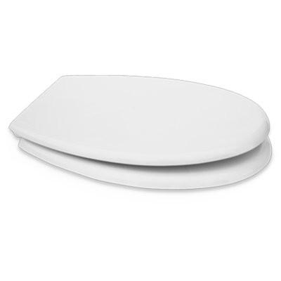 Sedile copri WC coprivaso Compatibile DELTA Serie SAMBA Termoindurente Copriwater Plastica Adattabile Bianco Cerniere Cromate BSTER2