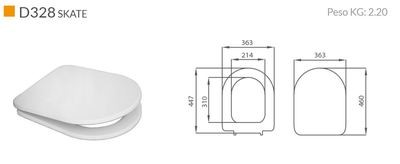 Sedile WC Compatibile RAK CERAMICS WASHINGTON Termoindurente Copriwater Plastica Adattabile Bianco Cerniere Cromate