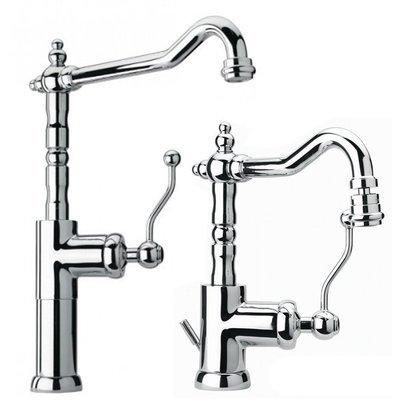 """PAINI DUOMO Miscelatore monoforo lavabo tipo alto con bocca tubo orientabile + bidet, scarico 1""""1/4"""