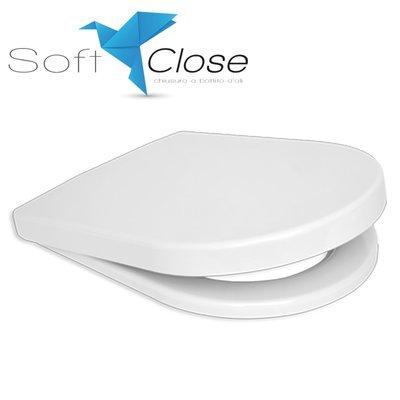 Sedile WC Compatibile AXA WILD Termoindurente Copriwater Plastica Adattabile Bianco Cerniere Cromate Soft Close - Chiusura Rallentata