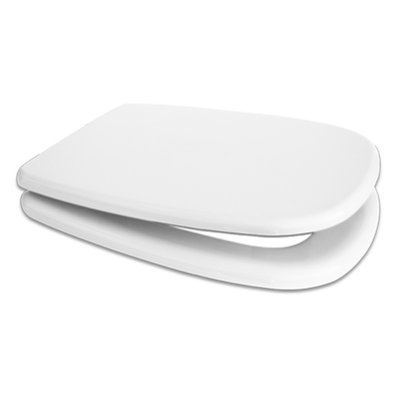 Sedile WC Compatibile DOLOMITE GEMMA 2 Termoindurente Copriwater Plastica Adattabile Bianco Cerniere Cromate