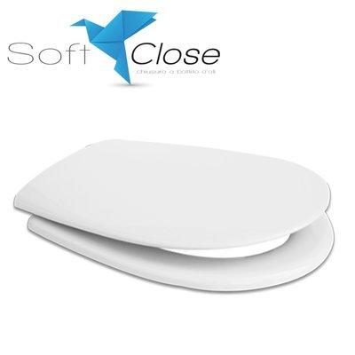 Sedile WC Compatibile GLOBO GRACE Termoindurente Copriwater Plastica Adattabile Bianco Cerniere Cromate Soft Close - Chiusura Rallentata