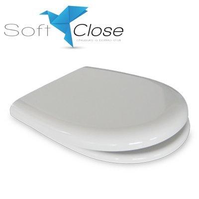 Sedile WC Compatibile CESAME ARETUSA Termoindurente Copriwater Plastica Adattabile Bianco Cerniere Cromate Soft Close - Chiusura Rallentata