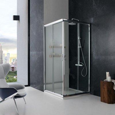 Box Doccia Italia 70x70x190h Quadrato Angolare Cristallo Trasparente 6mm Profilo Alluminio Porte Scorrevoli