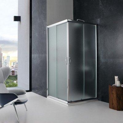 Box Doccia Italia 70x70x190h Quadrato Angolare Cristallo Opaco 6mm Profilo Alluminio Porte Scorrevoli