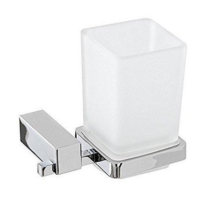 FERIDRAS UNICA Portaspazzolino in acciaio cromato-vetro satinato con piastrine in acciaio antiruggine