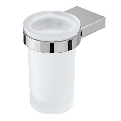 FERIDRAS FUTURA Portaspazzolino in acciaio cromato-vetro satinato con piastrine in acciaio antiruggine