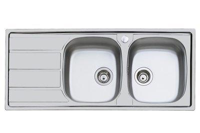 FOSTER Lavello Cucina Monostampo Acciaio Inox Spazzolato 2 Vasche Gocciolatore Sinistro 116x50cm