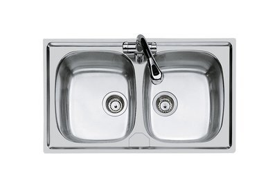 FOSTER Lavello Cucina Monostampo Acciaio Inox Spazzolato 2 Vasche 860x500 mm