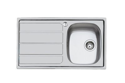 FOSTER Lavello Cucina Monostampo Acciaio Inox Spazzolato 1 Vasca Gocciolatore Sinistro 860x500 mm
