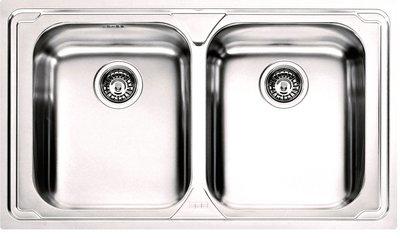 FRANKE Lavello Acciaio Inox Logica Line 2 Vasche Bordo Slim Garanzia Italia Dimensioni 860x500mm