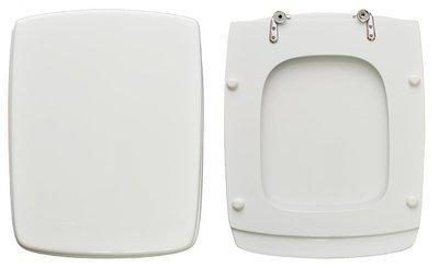 Sedile WC Copriwater per vaso POZZI GINORI TI-UNO Legno Poliestere Tavoletta Compatibile Adattabile Bianco Cerniere Cromate