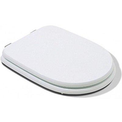 Sedile WC Copriwater per vaso CESAME ARETUSA Legno Poliestere Tavoletta Compatibile Adattabile Bianco Cerniere Cromate