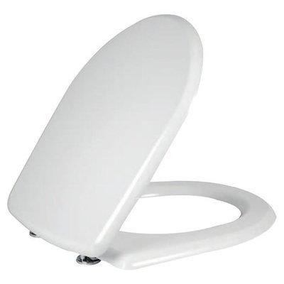 Sedile WC Copriwater per vaso POZZI GINORI COLIBRI' 2 Legno Poliestere Tavoletta Compatibile Adattabile Bianco Cerniere Cromate
