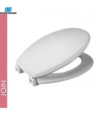 Sedile WC Copriwater per vaso JOIN 71 POZZI GINORI Legno Poliestere Tavoletta Compatibile Adattabile Bianco Cerniere Cromate