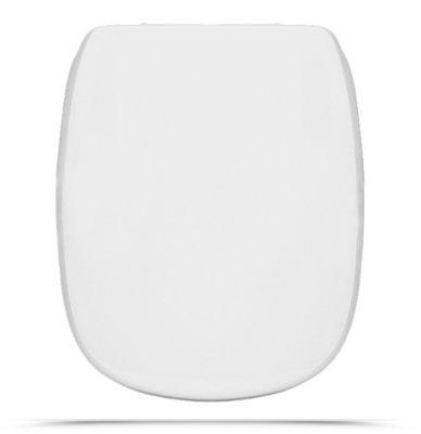 Sedile WC Copriwater per vaso DOLOMITE FLEO Legno Poliestere Tavoletta Compatibile Adattabile Bianco Cerniere Cromate