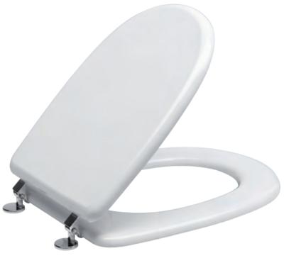 Sedile WC Copriwater per vaso DOLOMITE ALPINA Legno Poliestere Tavoletta Compatibile Adattabile Bianco Cerniere Cromate