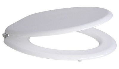 Sedile WC Compatibile CESABO KRIS Termoindurente Copriwater Plastica Adattabile Bianco Cerniere Cromate