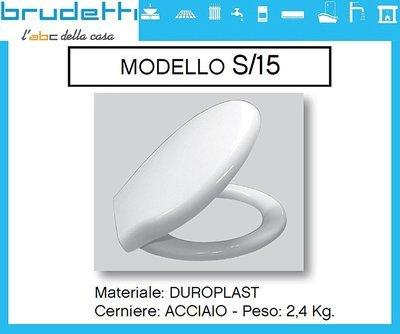 Sedile WC Compatibile CIELO EASY Termoindurente Copriwater Plastica Adattabile Bianco Cerniere Cromate