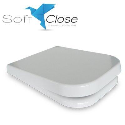 Sedile WC Compatibile DISEGNO TOUCH 2 Termoindurente Copriwater Plastica Adattabile Bianco Cerniere Cromate Soft Close - Chiusura Rallentata