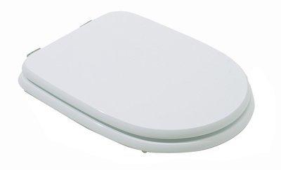 Sedile WC Copriwater per vaso G.S.G. ATENE Legno Poliestere Tavoletta Compatibile Adattabile Bianco Cerniere Cromate