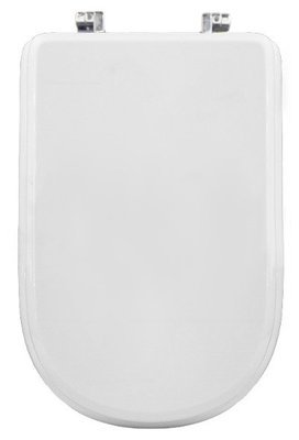 Sedile WC Copriwater per vaso DOLOMITE GEMMA 2 Legno Poliestere Tavoletta Compatibile Adattabile Bianco Cerniere Cromate