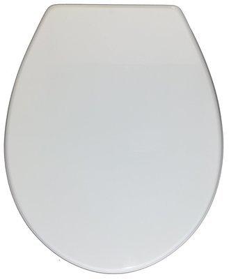 Sedile WC Copriwater per vaso CESAME CORE Legno Poliestere Tavoletta Compatibile Adattabile Bianco Cerniere Cromate