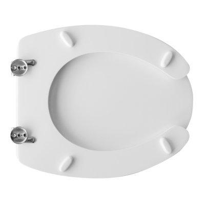 Sedile WC Copriwater per vaso CESABO EXEL SOSPESA DISABILI Legno Poliestere Tavoletta Compatibile Adattabile Bianco Cerniere Cromate