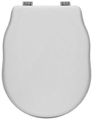 Sedile WC Copriwater per vaso CIELO WINDSOR Legno Poliestere Tavoletta Compatibile Adattabile Bianco Cerniere Cromate