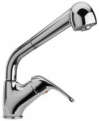 Miscelatore monoforo Lavello cucina con doccia estraibile, comando laterale cromo