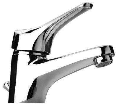 """Piralla Ceramix Rubinetto Miscelatore per lavabo Scarico Automatico 1""""1/4 Piletta Inclusa Monoforo Cromato"""