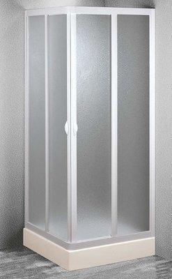 Forte Cabina Doccia Apertura Angolare Scorrevole in PVC Opaco Profilo Bianco Reversibile 70x70x185h Made in Italy