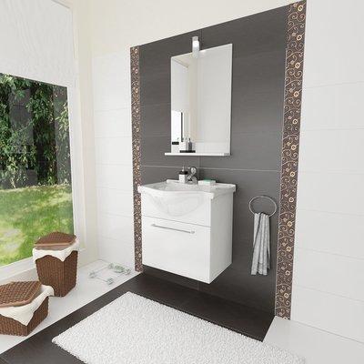Composizione Mobile Lavabo e Specchiera 56.5x135x42.5cm Colore Bianco