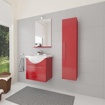 Composizione Mobile Lavabo e Specchiera 56.5x135x42.5cm Colore Rosso