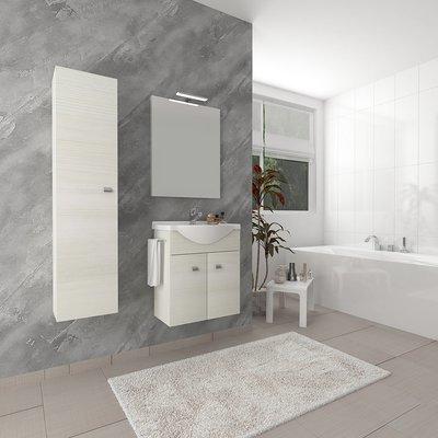 Composizione Base Due Ante con Porta Salviette e Lavabo Consolle e Specchiera  57x167x47.5cm Rovere Bianco