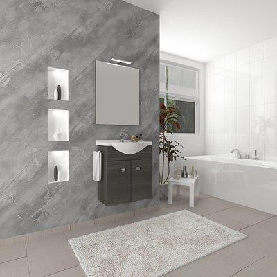 Composizione Base Due Ante con Porta Salviette e Lavabo Consolle e Specchiera  57x167x47.5cm Rovere Scuro