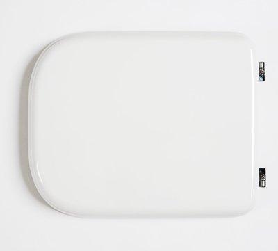 Sedile copri WC coprivaso Compatibile DOLOMITE Serie RIO in Poliestere Copriwater anima in Legno Bianco Cerniere Cromate BSPRESDO14