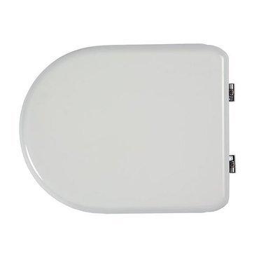 Sedile copri WC coprivaso Compatibile DOLOMITE Serie CLODIA in Poliestere Copriwater anima in Legno Bianco Cerniere Cromate BSPRESDO07
