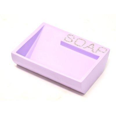Portasapone porta sapone13x10cm saponetta in ceramica lilla accessori bagno