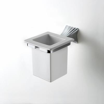 House Design Doria Porta Spazzolini Ceramica Bianca Supporto Finitura Ottone Cromato