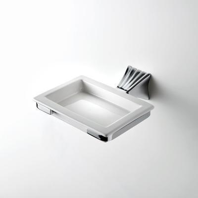 House Design Doria Porta Sapone Ceramica Bianca Supporto Finitura Ottone Cromato