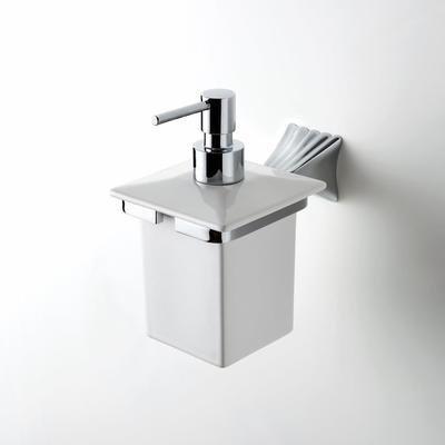 House Design Doria Dispenser Ceramica Bianca Supporto Finitura Ottone Cromato